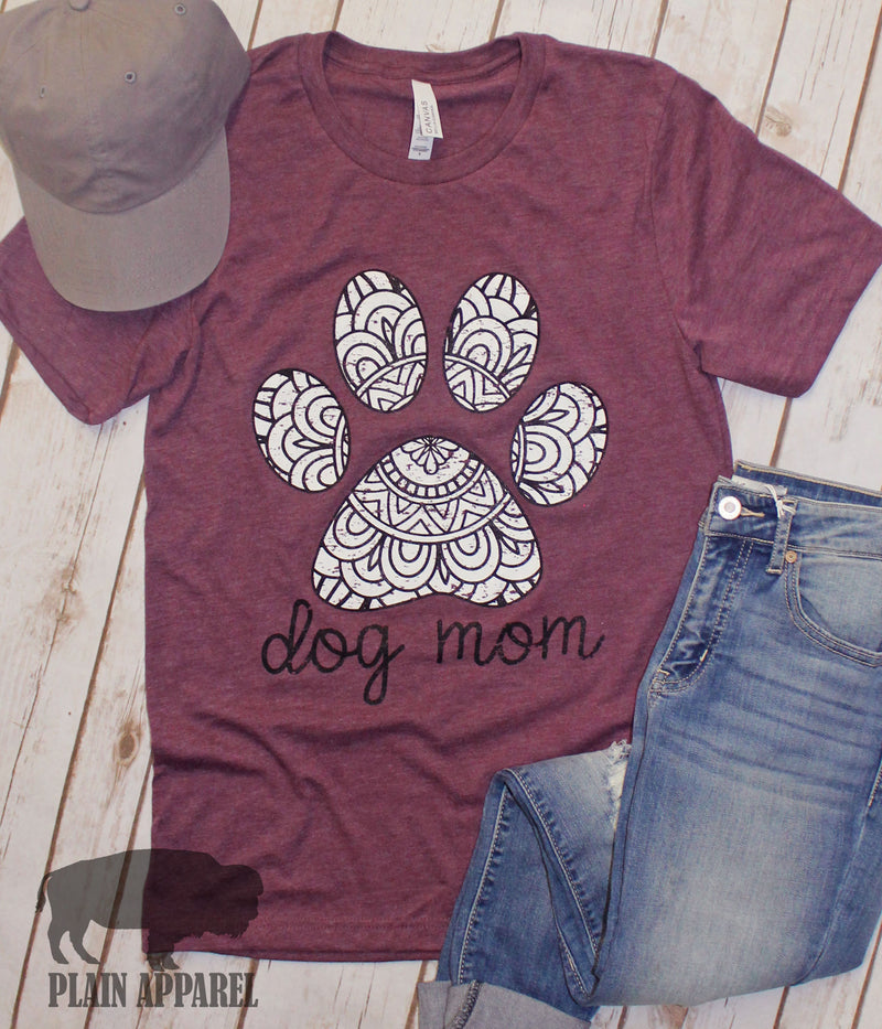 Dog Mom Mandela Paw Crew Neck Tee - Bless UR Heart Boutique