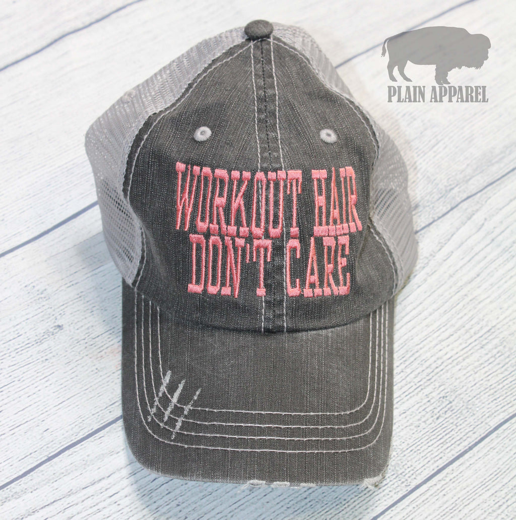 Workout Hair, Don't Care Ball Cap - Bless UR Heart Boutique