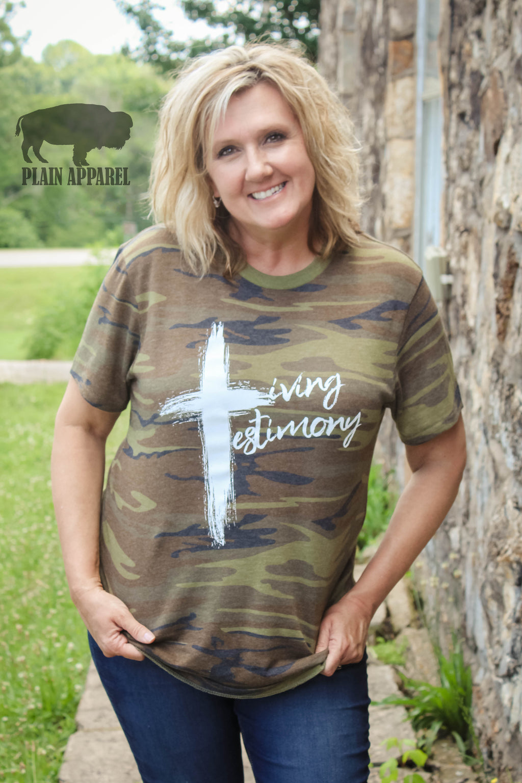 Camo Living Testimony Crew Neck Tee - Bless UR Heart Boutique