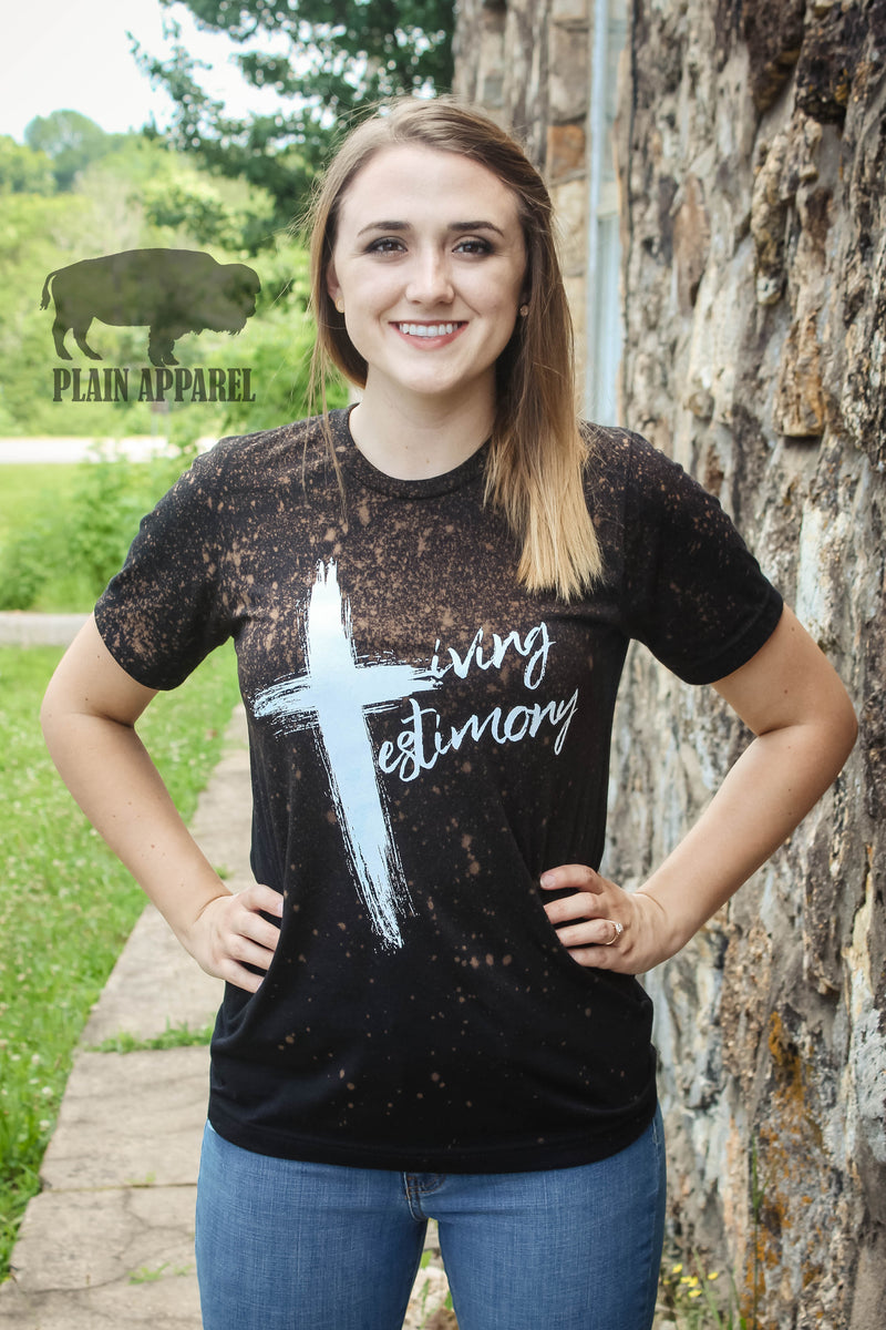 Distressed Living Testimony Black Crew Neck Tee - Bless UR Heart Boutique