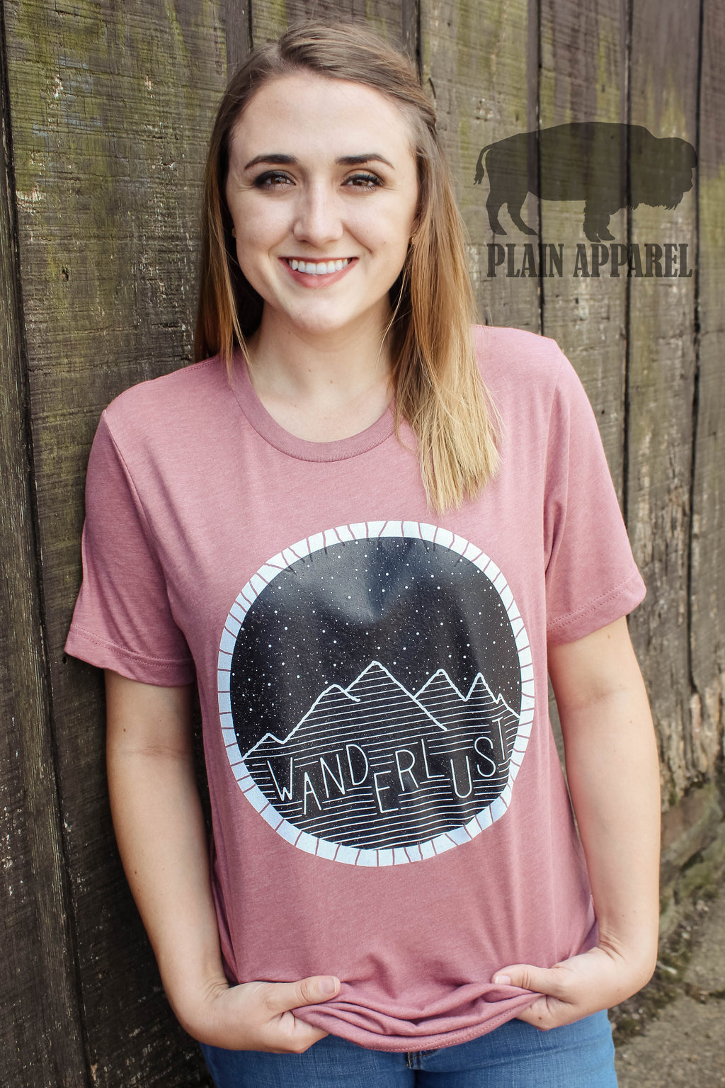 Wanderlust Mauve Crew Neck Tee - Bless UR Heart Boutique