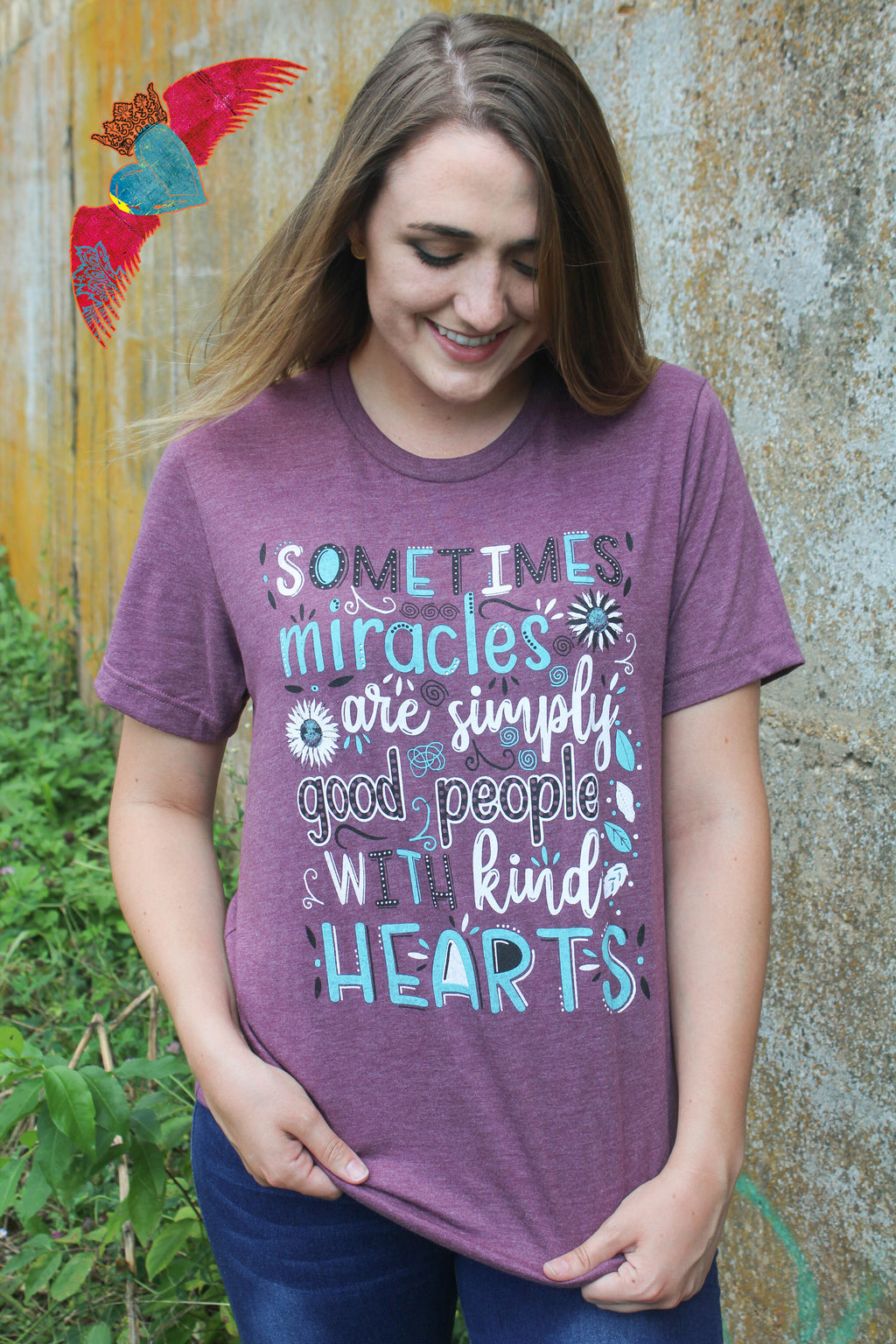 Kind Hearts Purple Crew Neck Tee