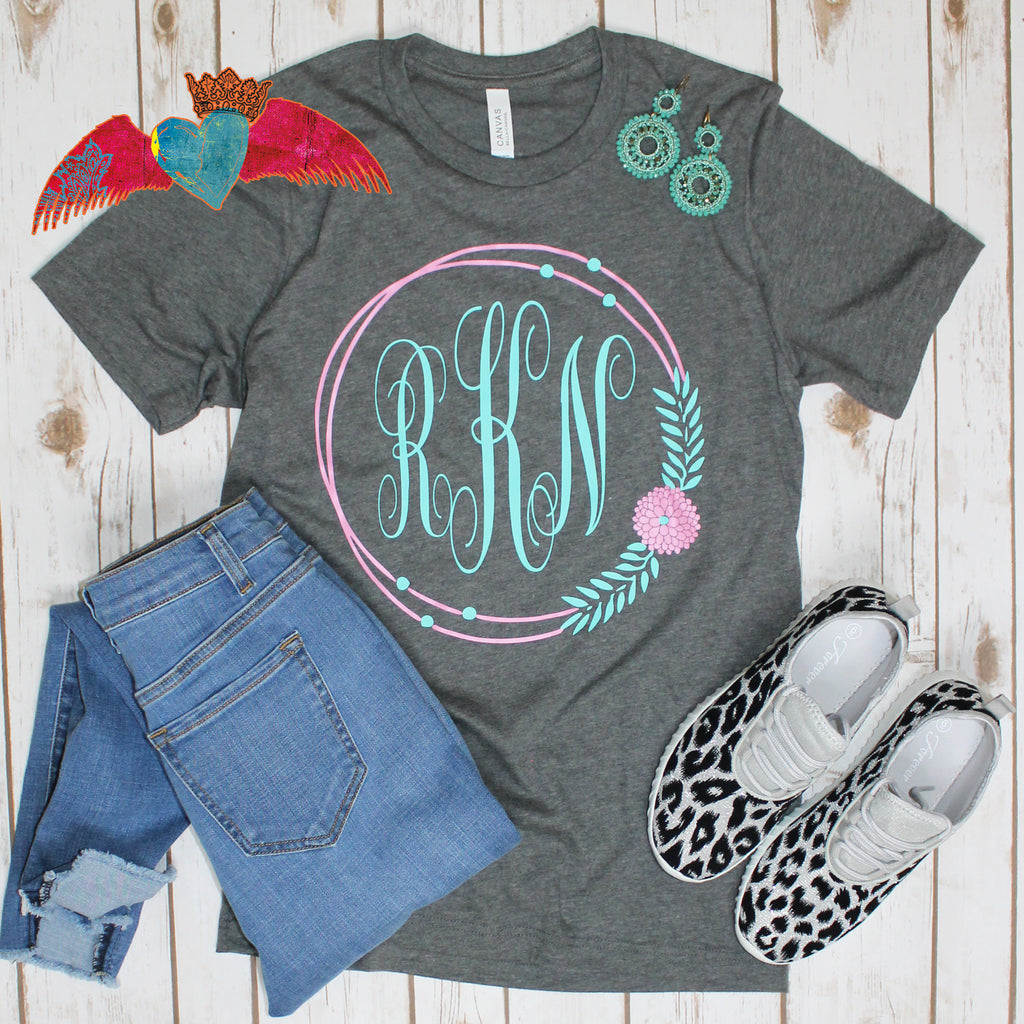 Floral Dream Catcher Monogram Tee - Bless UR Heart Boutique