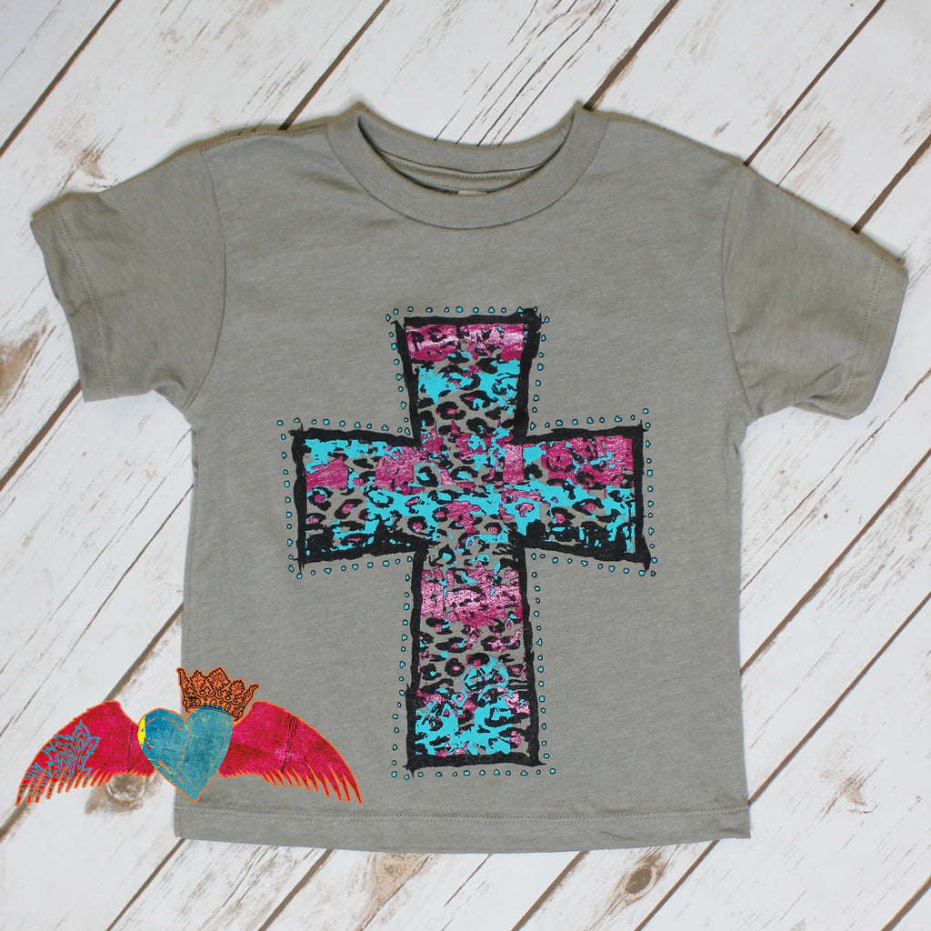 KID Bright Turquoise & Pink Leopard Cross Tee - Bless UR Heart Boutique