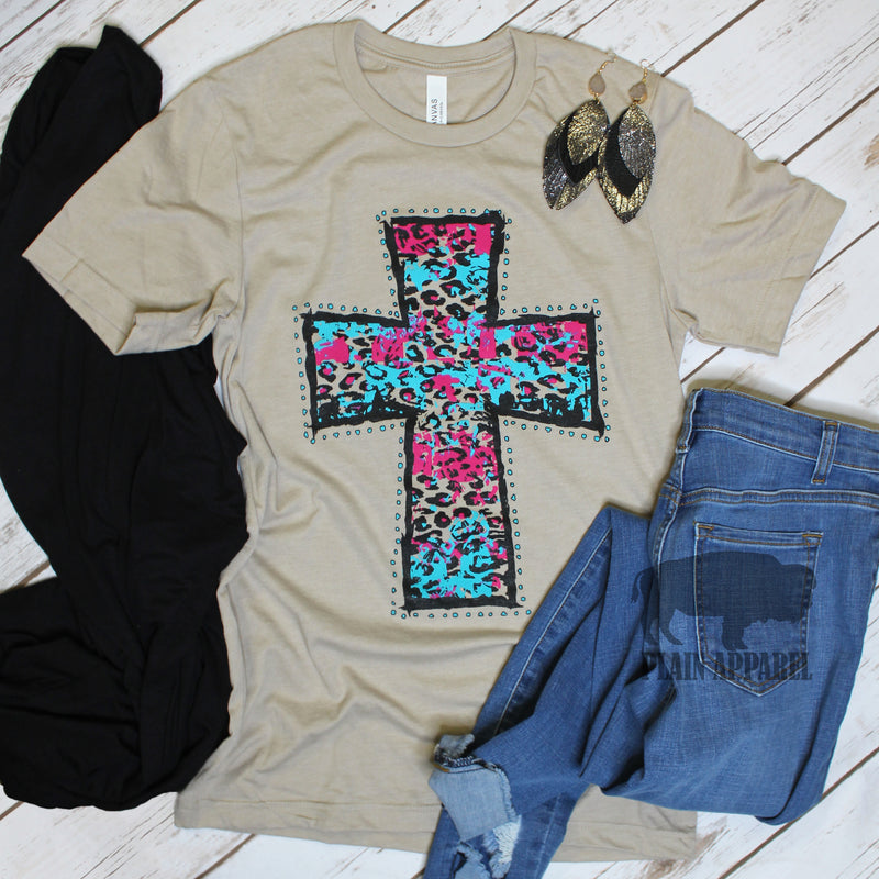 Bright Turquoise & Pink Leopard Cross Tee - Bless UR Heart Boutique
