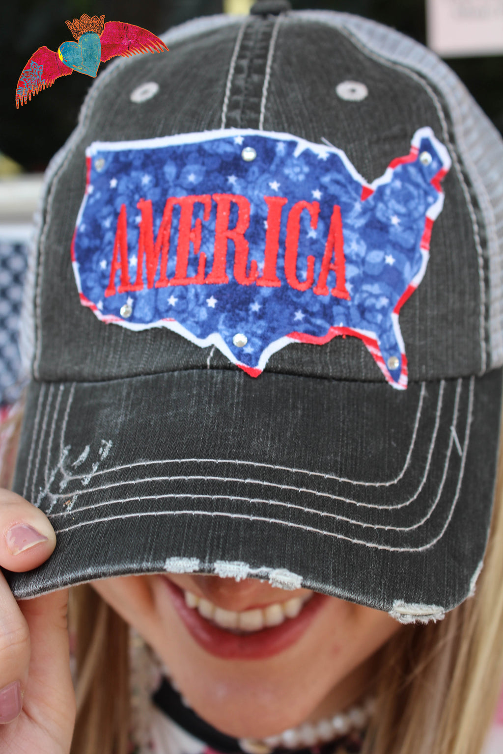 America Bling Ball Cap - Bless UR Heart Boutique