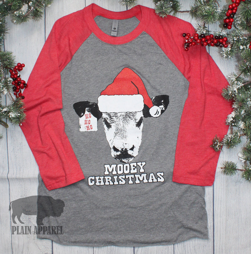 Mooey Christmas Raglan Tee - Bless UR Heart Boutique
