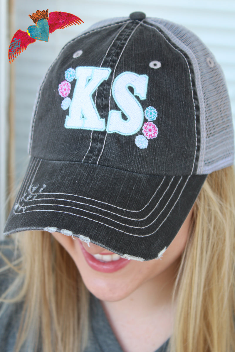 KS Floral Ball Cap (Kansas) - Bless UR Heart Boutique
