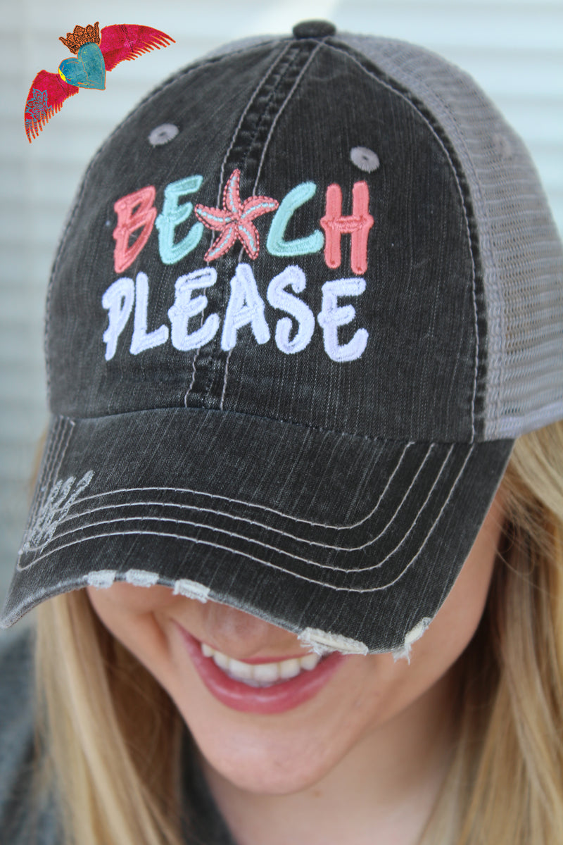 Beach Please Ball Cap - Bless UR Heart Boutique