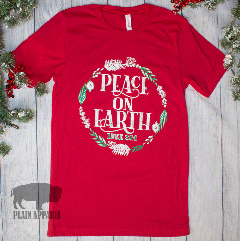 Peace On Earth Crew Tee - Bless UR Heart Boutique
