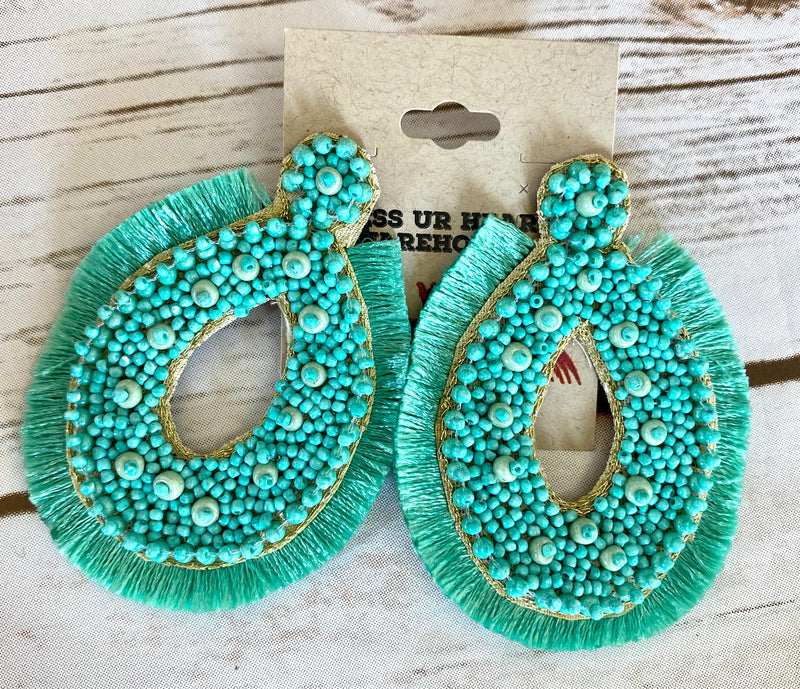 Turquoise Tear Drop with Fringe EAR239
