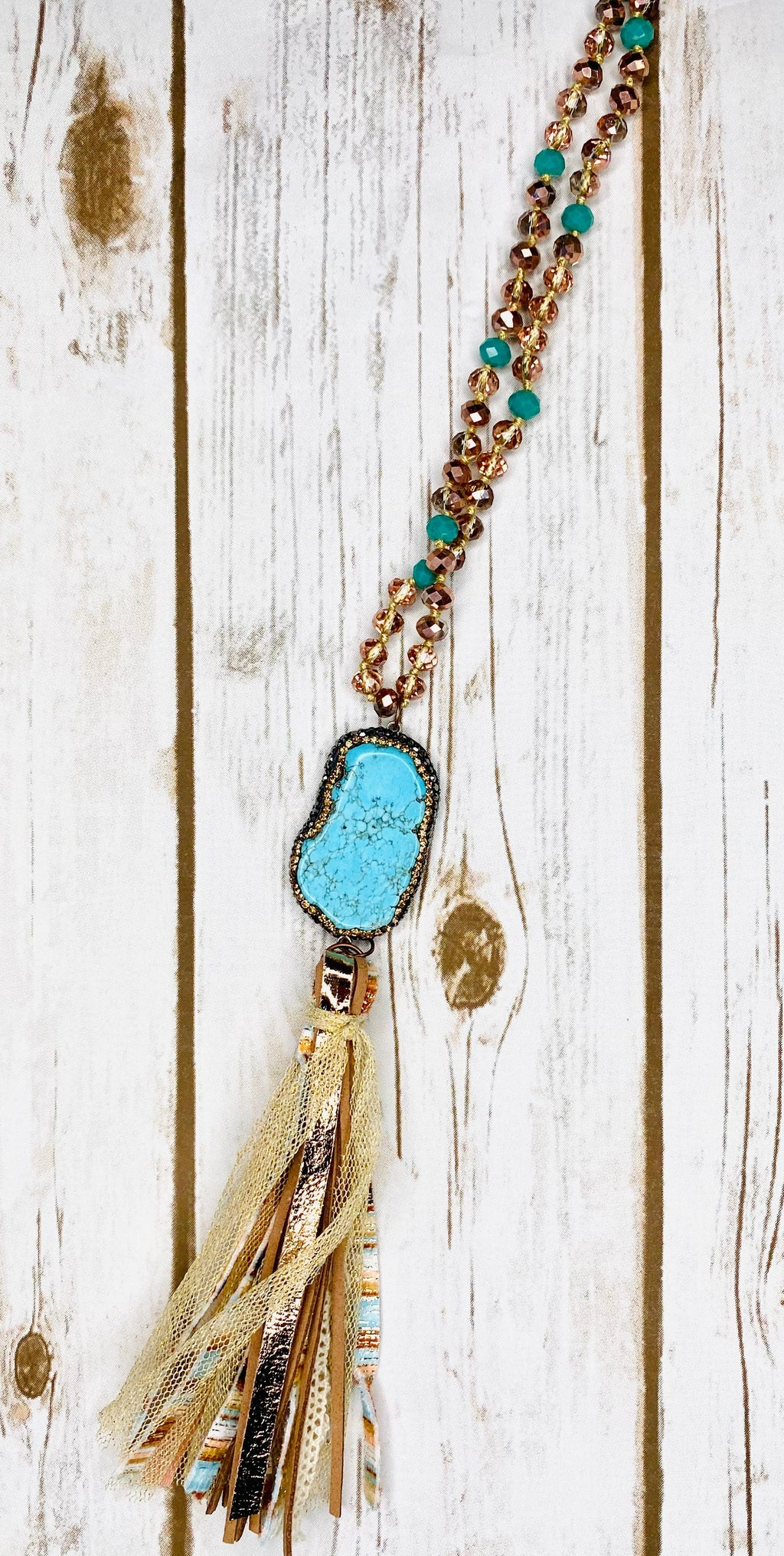 Turquoise Stone Pendant with Tassel NCK212