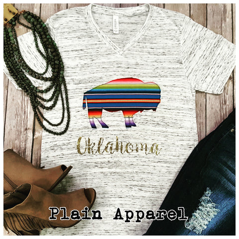 Buffalo Serape V-Neck