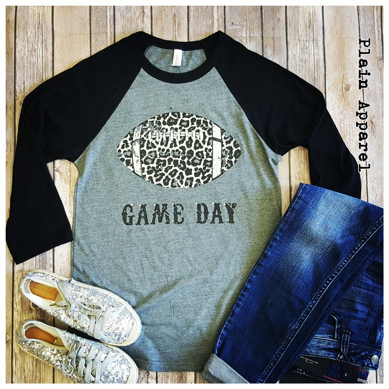 Leopard Football Raglan - Bless UR Heart Boutique