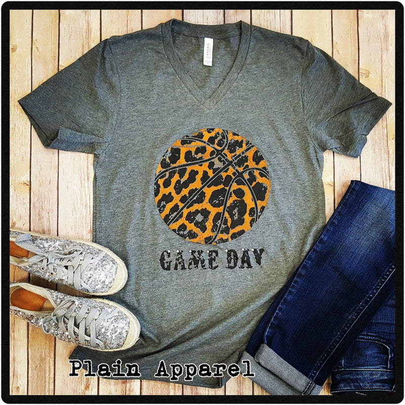 Orange Leopard Basketball V-Neck