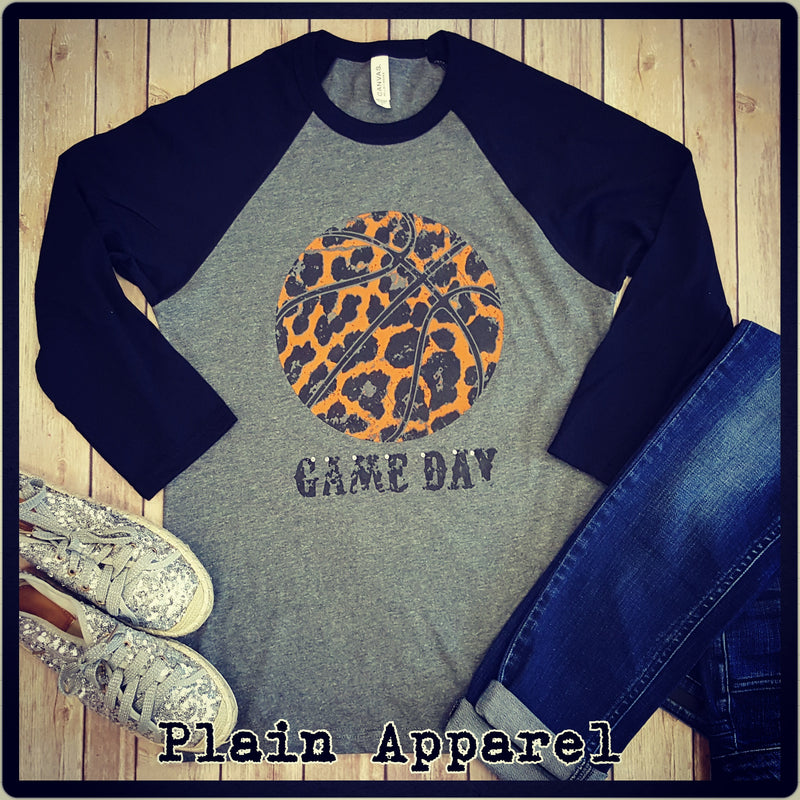 Orange Leopard Basketball Raglan - Bless UR Heart Boutique
