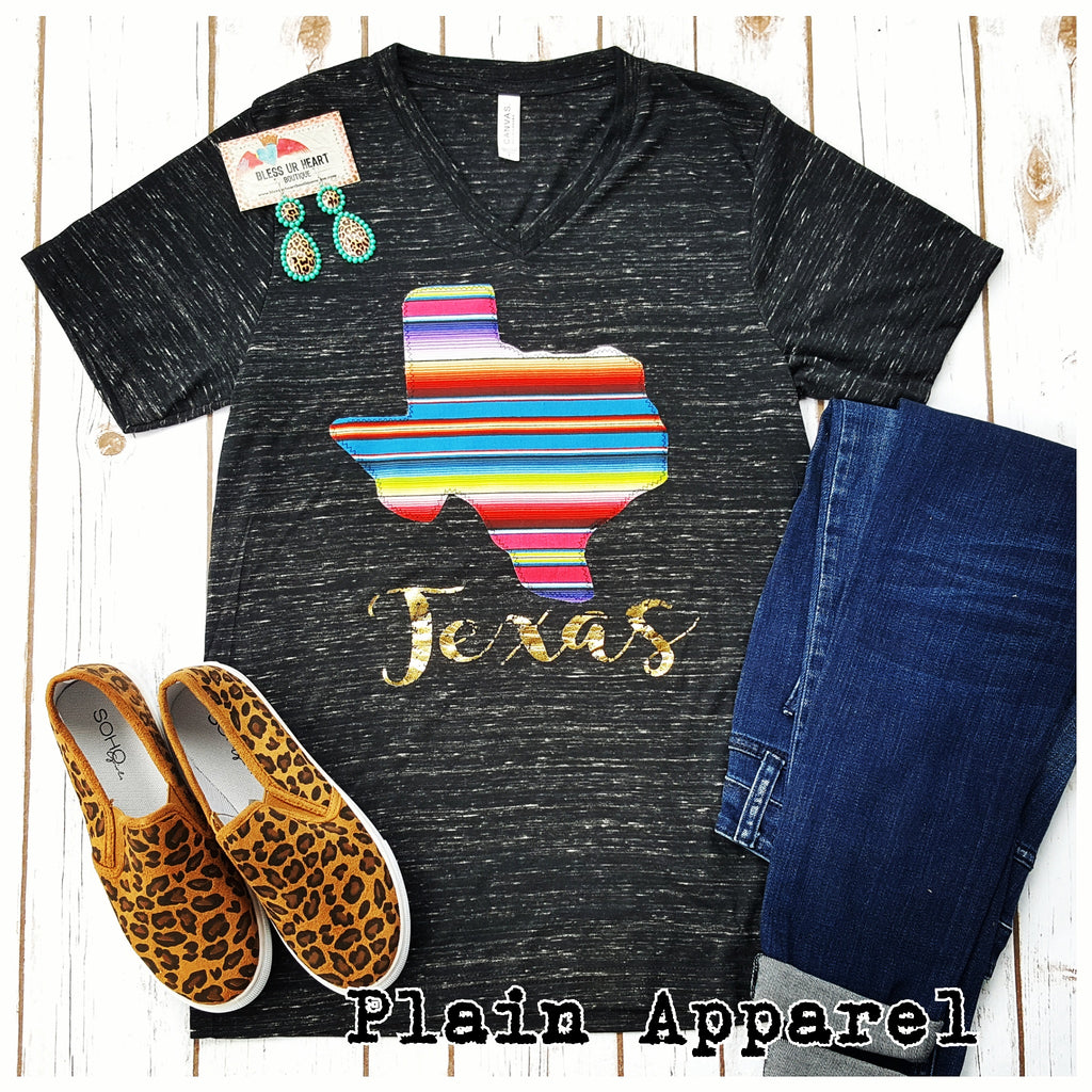Texas Serape V-Neck - Bless UR Heart Boutique