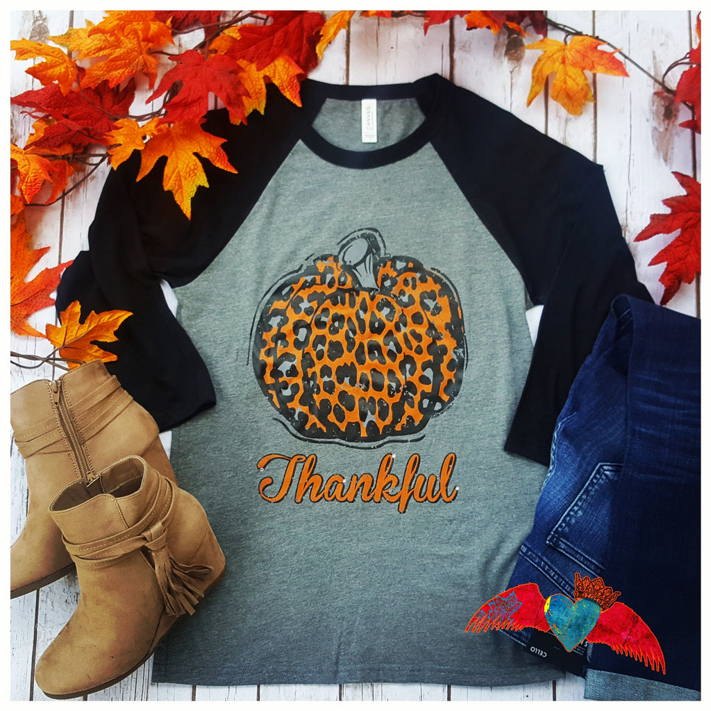 Thankful Leopard Pumpkin Raglan - Bless UR Heart Boutique