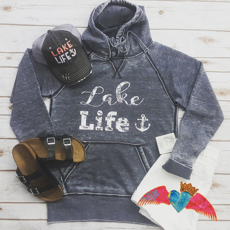 Lake Life Vintage Style Hoodie - Bless UR Heart Boutique
