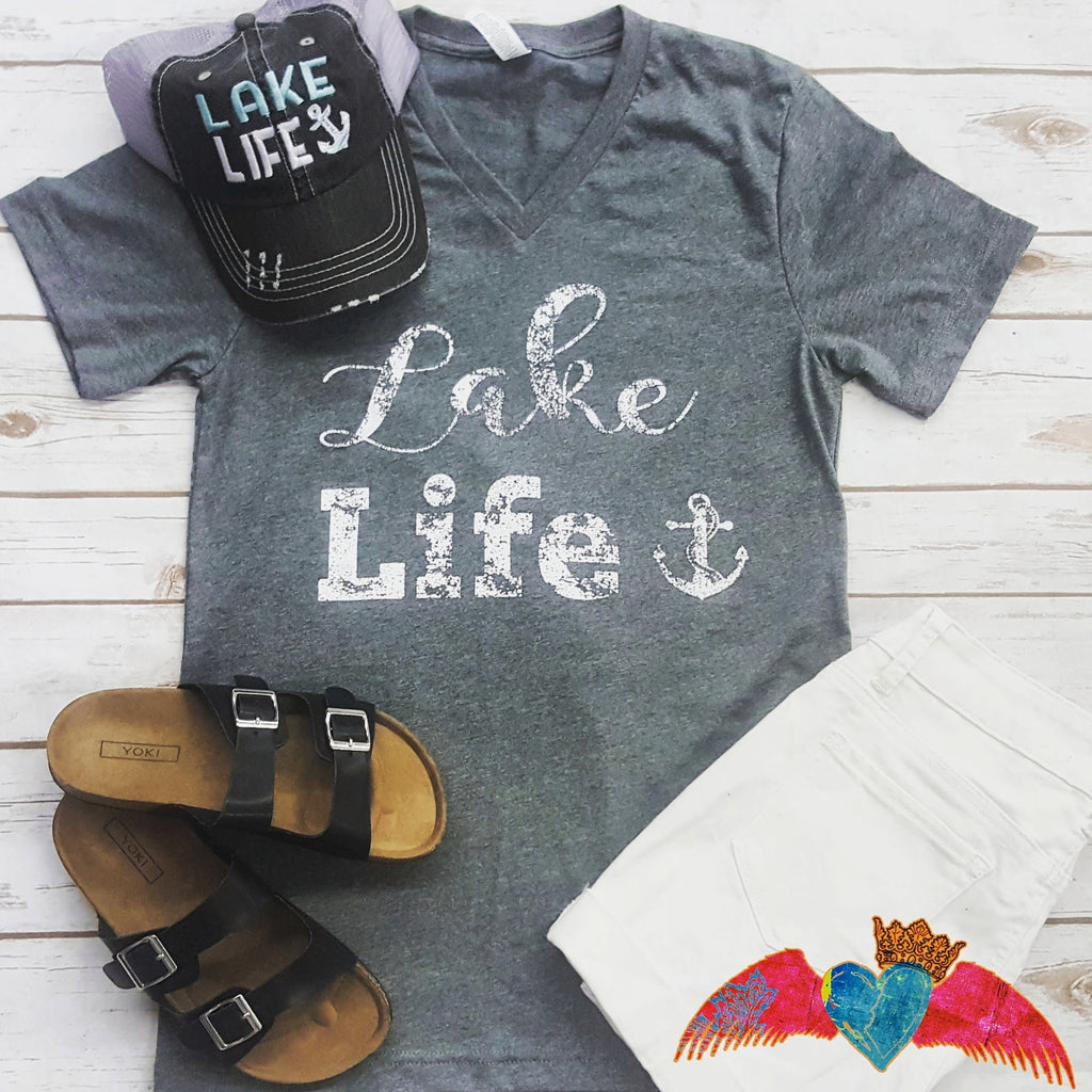 Lake Life V-Neck - Bless UR Heart Boutique