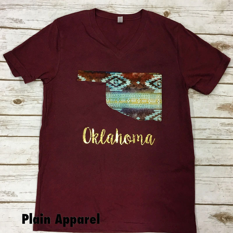 Southwest Aztec Oklahoma V-Neck - Bless UR Heart Boutique