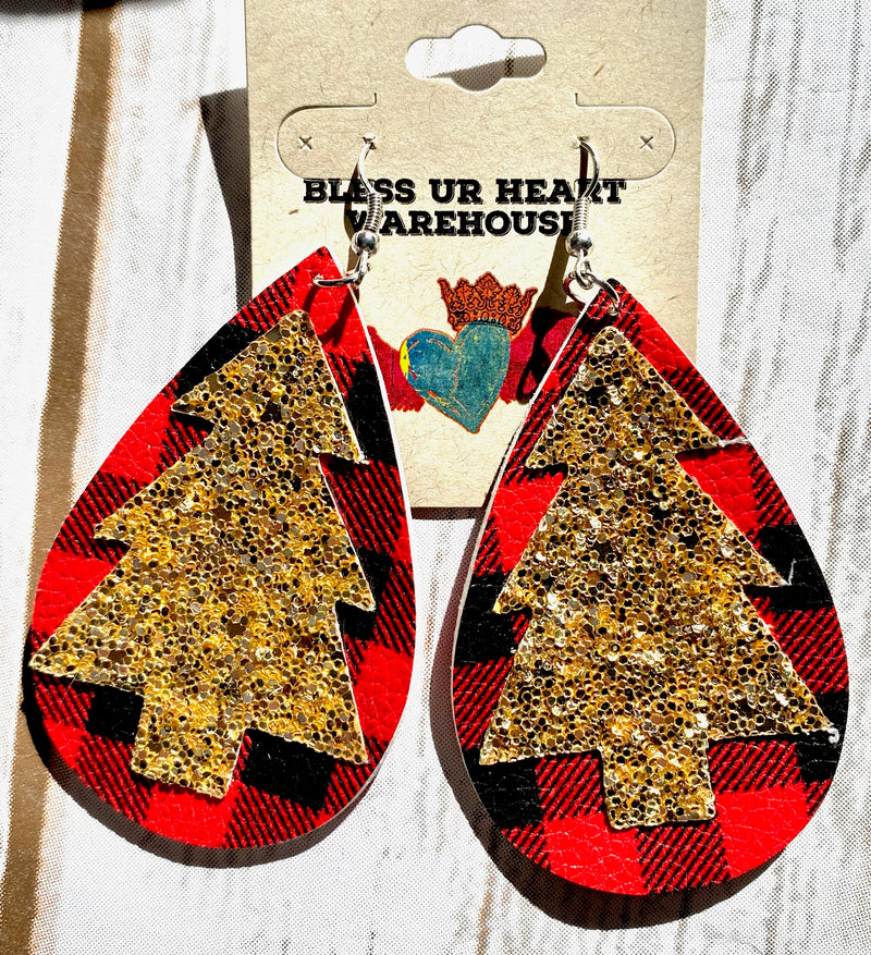 Buffalo Plaid with Glitter Tree Earring 244 - Bless UR Heart Boutique