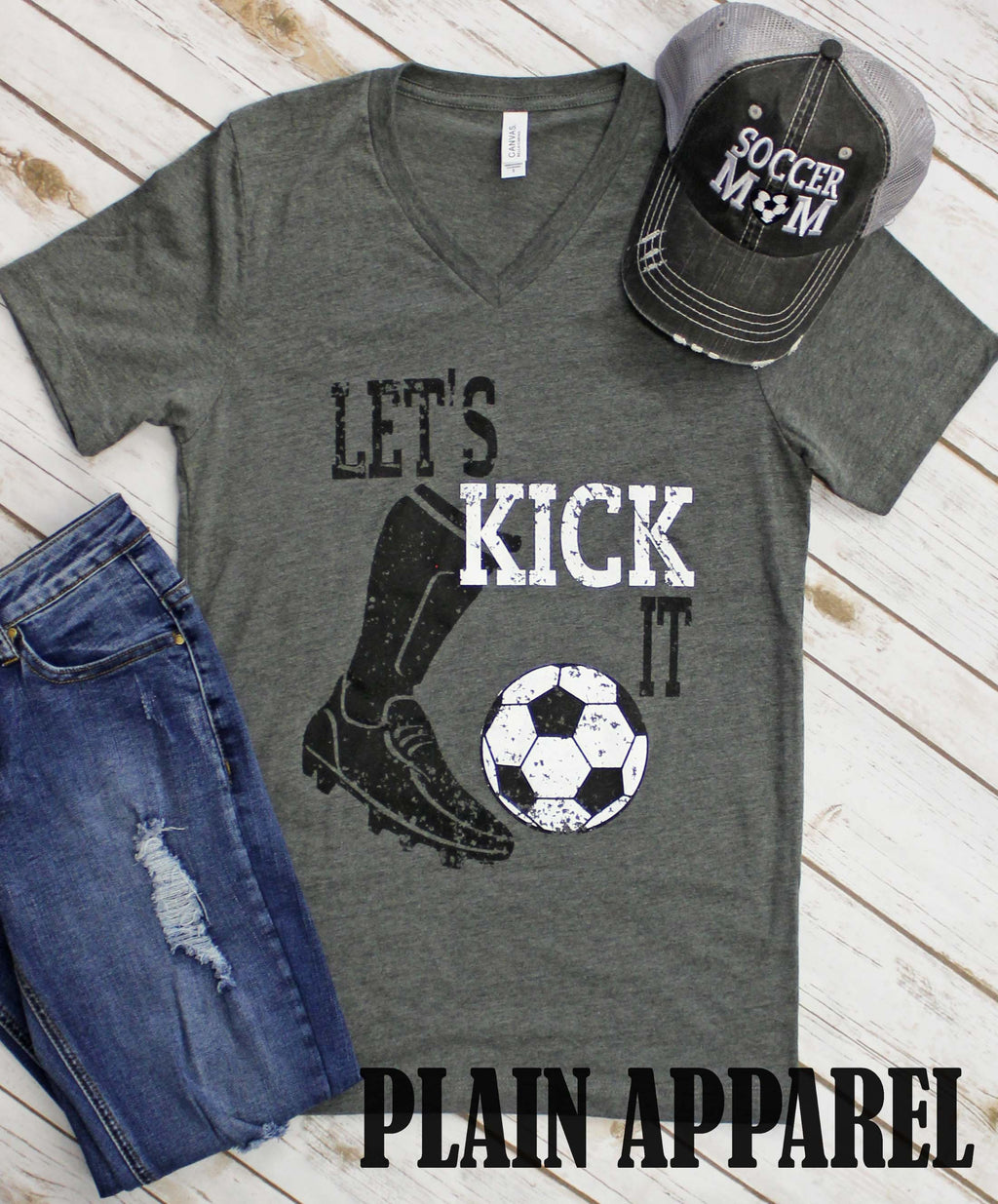 Soccer Let's Kick It V-Neck