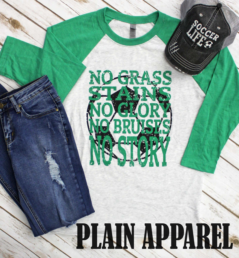 Soccer No Grass Stains Raglan - Bless UR Heart Boutique