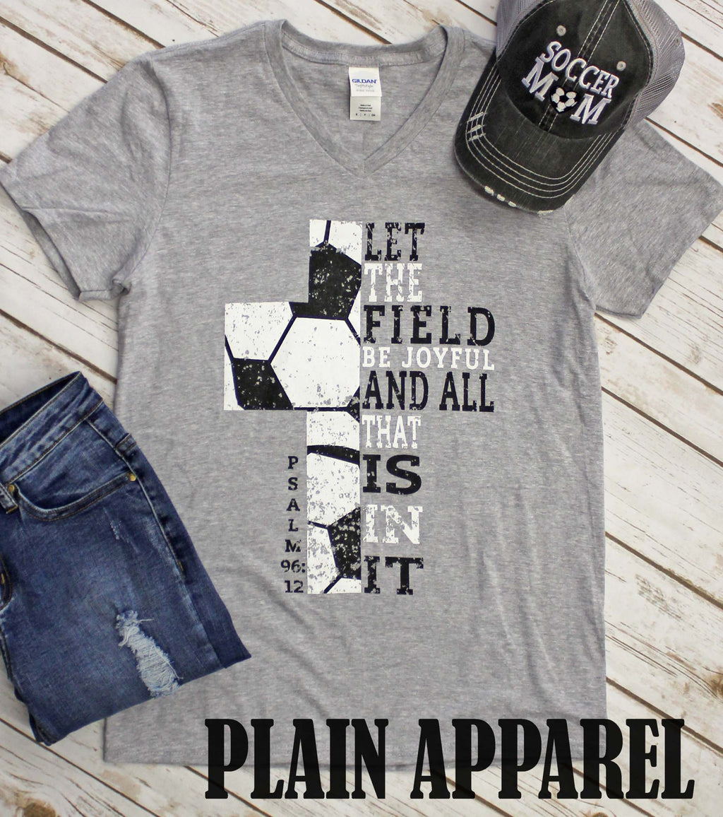 Soccer Cross Psalm 96:12 - Bless UR Heart Boutique