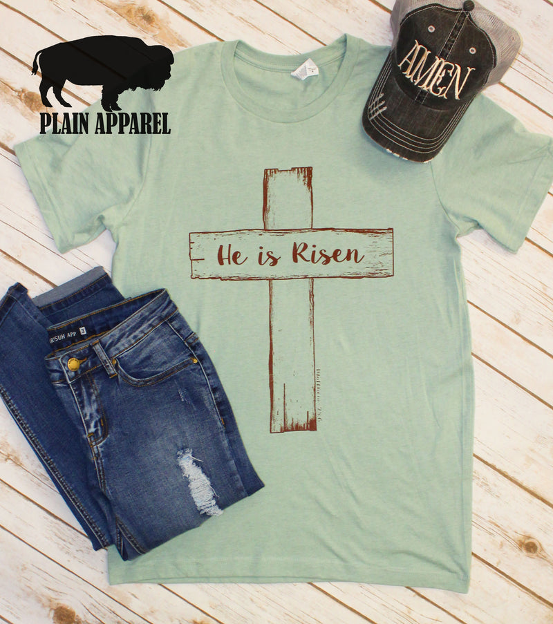 He Is Risen Dusty Blue Crew Neck Tee - Bless UR Heart Boutique