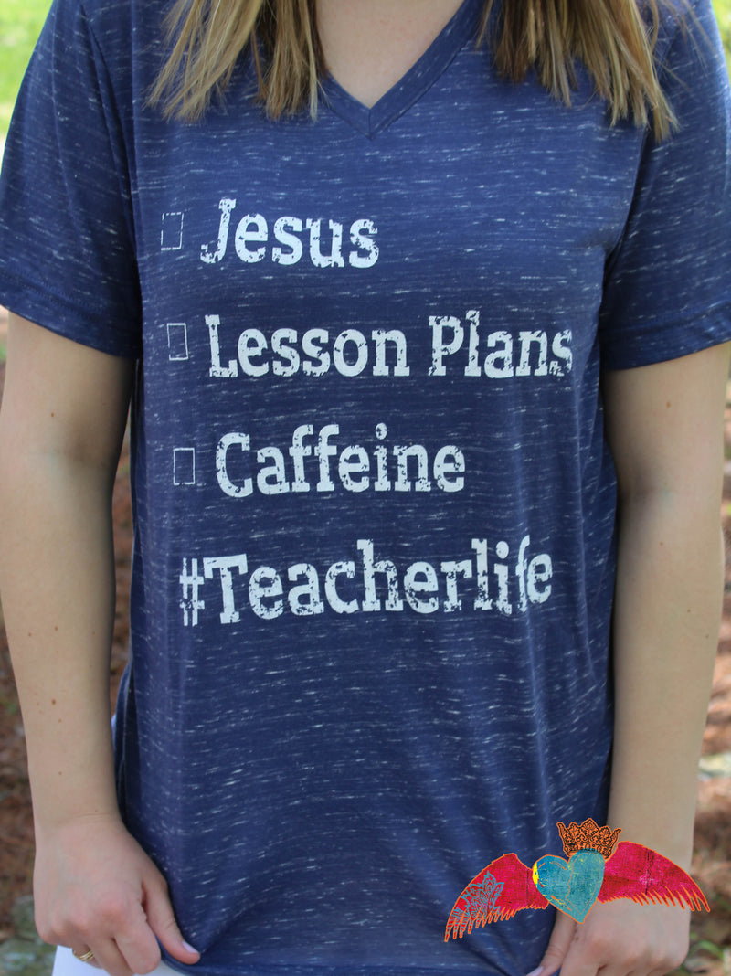 #Teacherlife Checklist V-Neck
