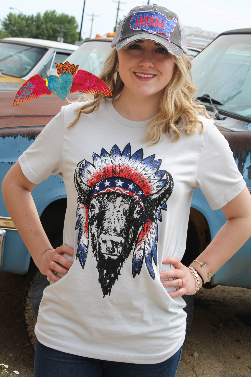 Patriotic Buffalo Tee - Bless UR Heart Boutique