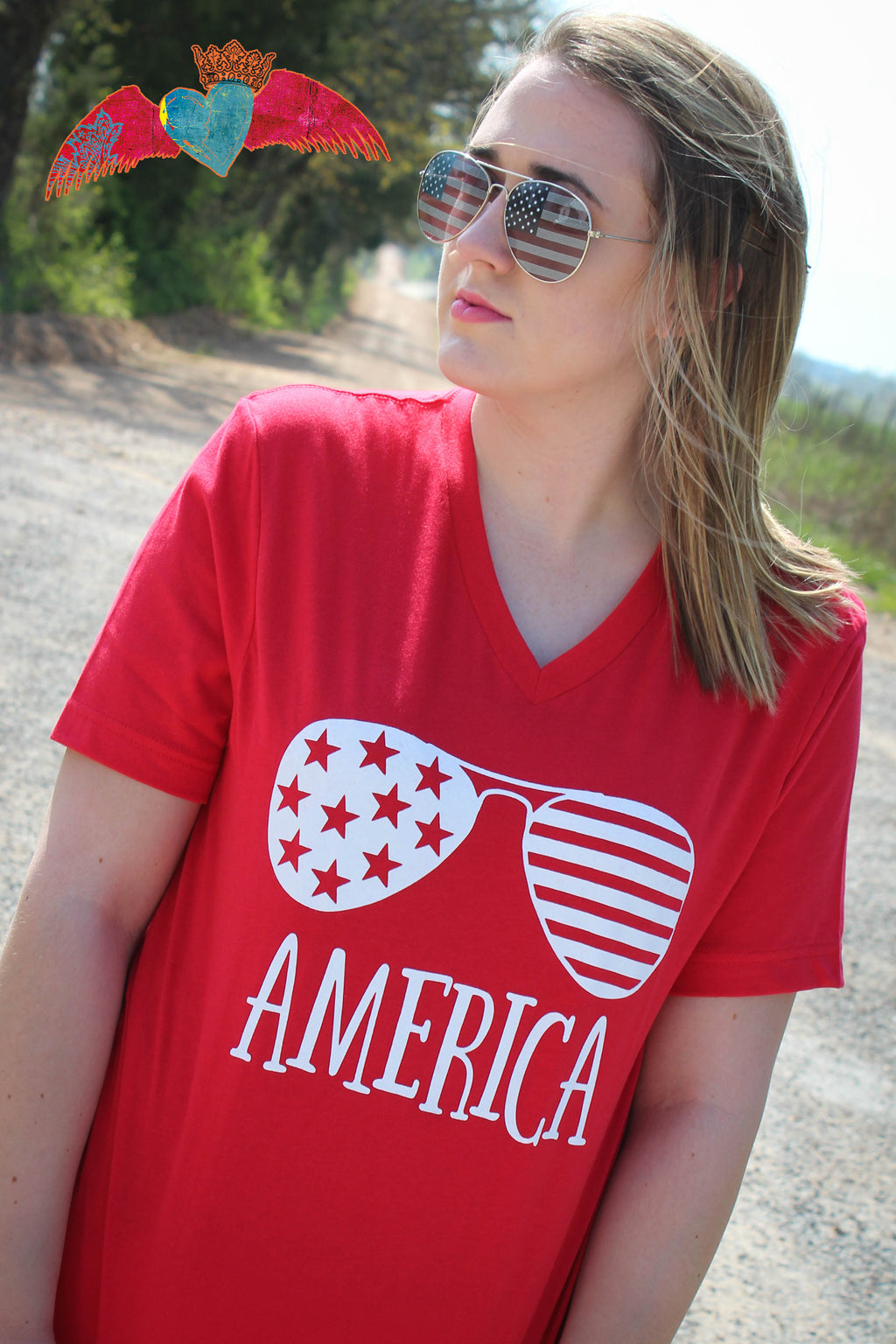 America Glasses V-Neck - Bless UR Heart Boutique