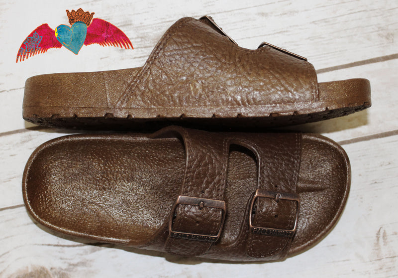 Brown Double BUCKLE Jandal SHOE137 - Bless UR Heart Boutique