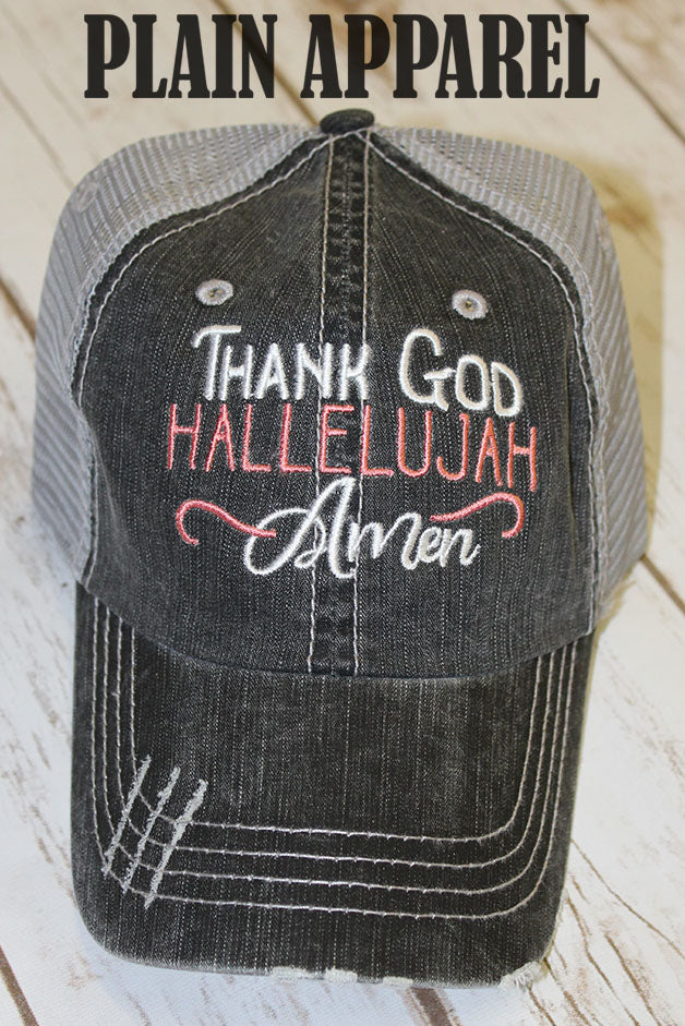 Coral Thank God Ball Cap - Bless UR Heart Boutique