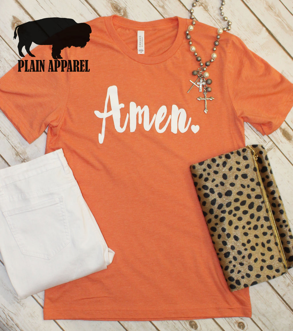 Coral AMEN Crew Neck Tee - Bless UR Heart Boutique