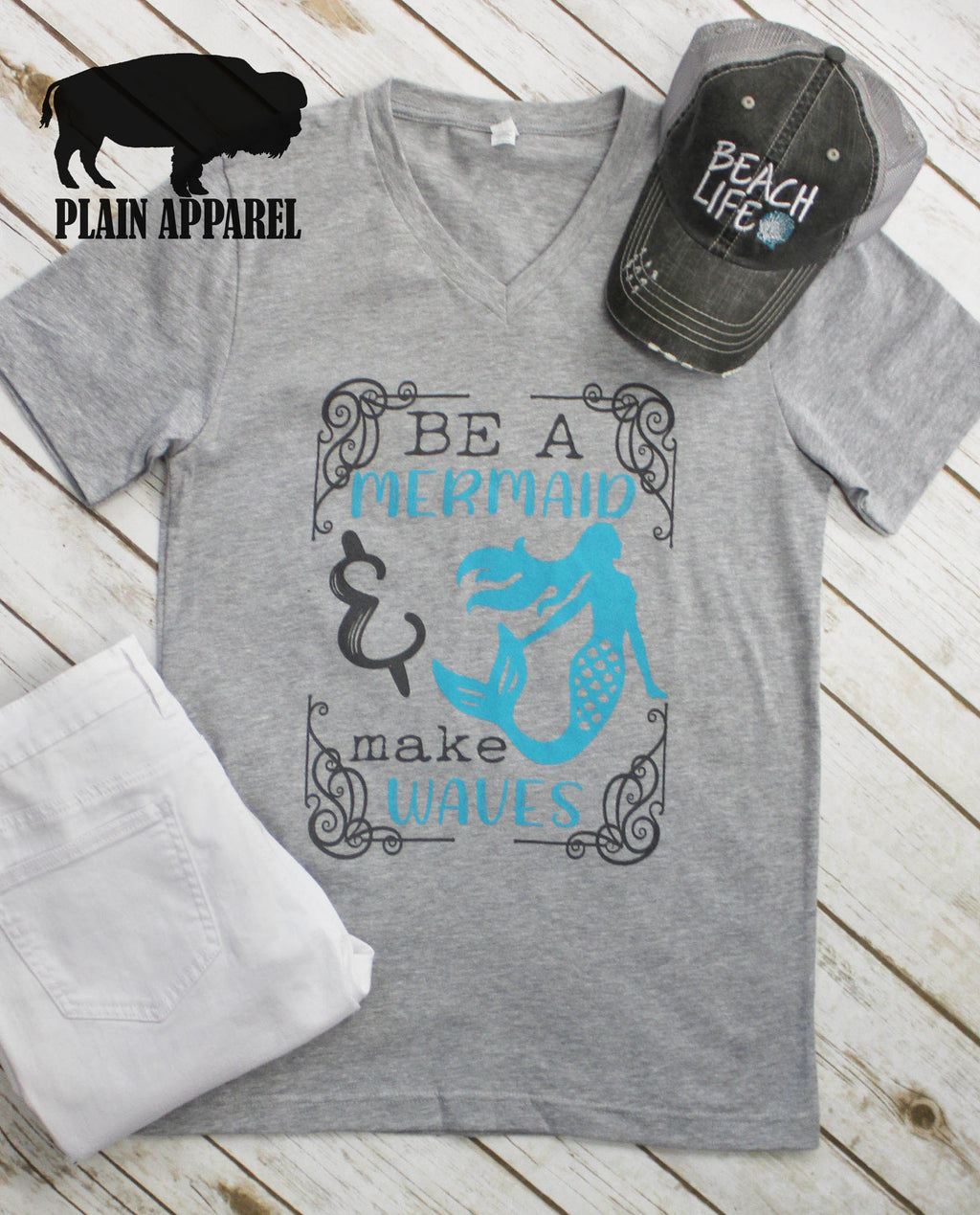 Be A Mermaid & Make Waves V-Neck Tee - Bless UR Heart Boutique