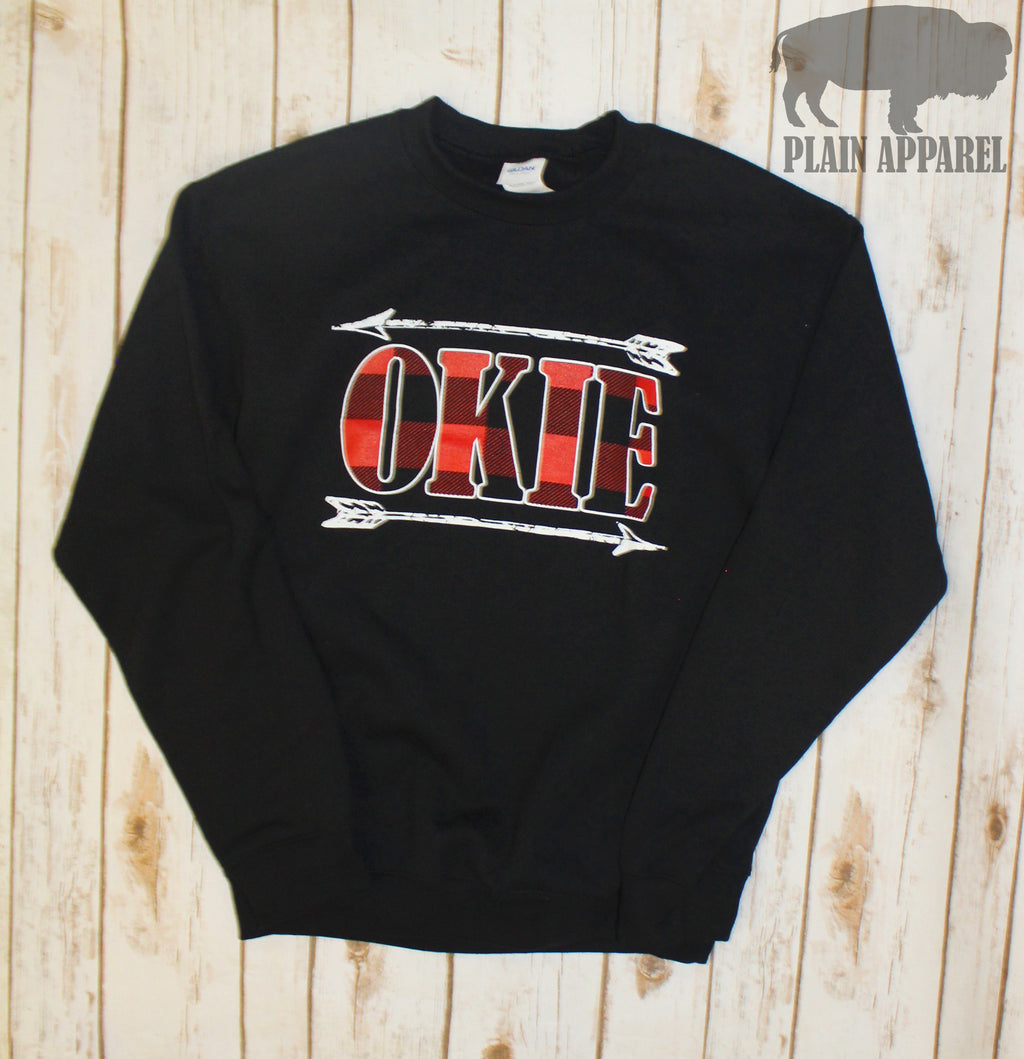 Okie Arrow Buffalo Plaid Sweatshirt - Bless UR Heart Boutique
