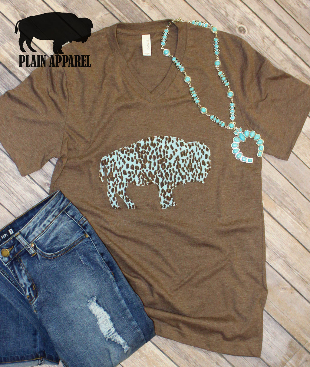 Baby Blue Leopard Applique Buffalo V-Neck - Bless UR Heart Boutique