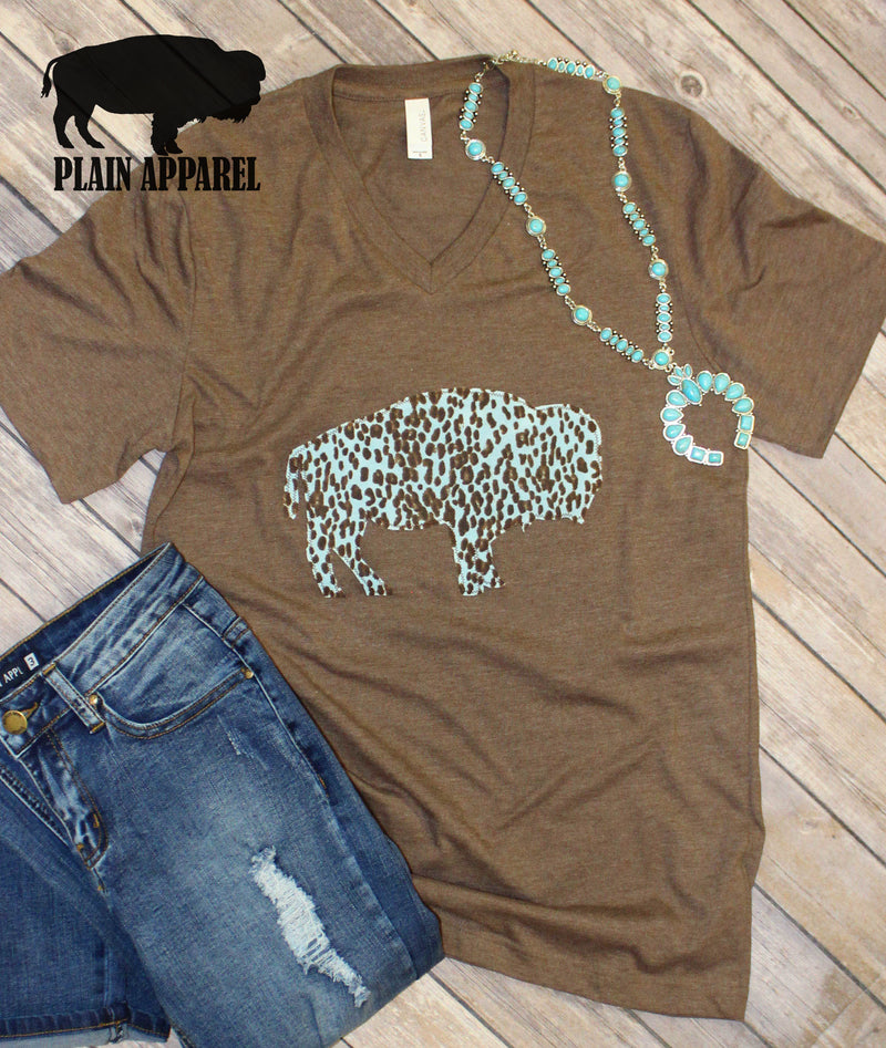 Baby Blue Leopard Applique Buffalo V-Neck