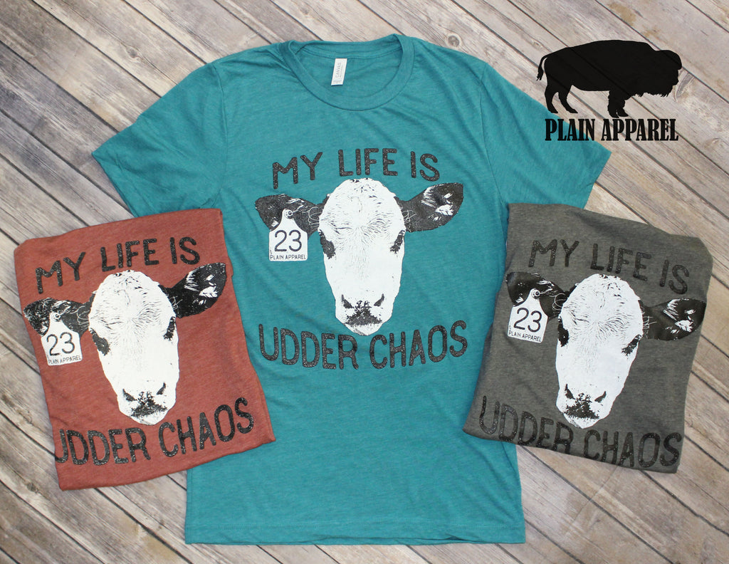 Udder Chaos Cow Head Tee - Bless UR Heart Boutique