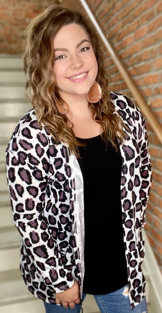 Wild Purple Leopard Cardigan with Pockets Js174 - Bless UR Heart Boutique
