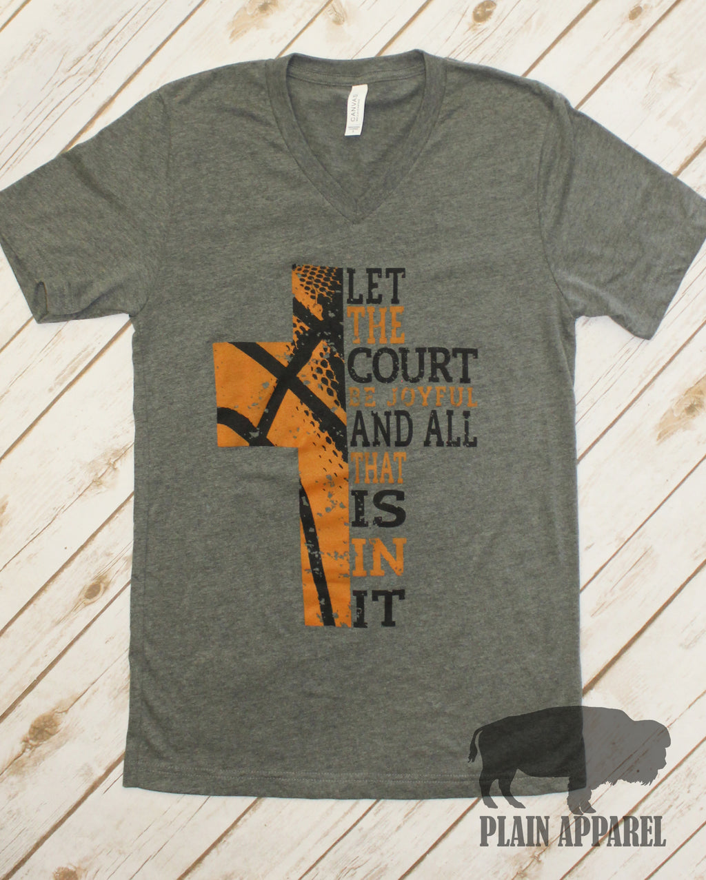 Basketball Cross Dark Gray V-neck - Bless UR Heart Boutique