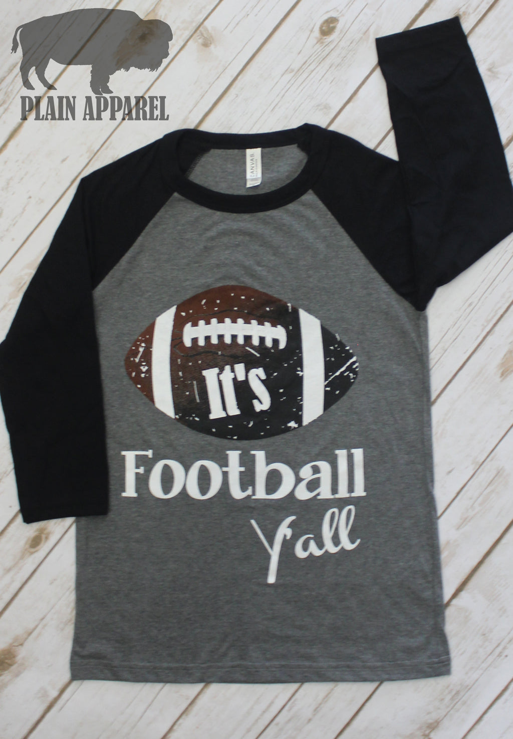 It's Football Y'all Raglan BLACK - Bless UR Heart Boutique