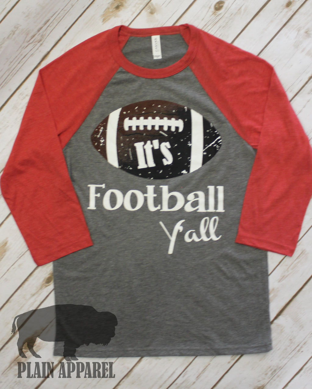 It's Football Y'all Raglan RED - Bless UR Heart Boutique