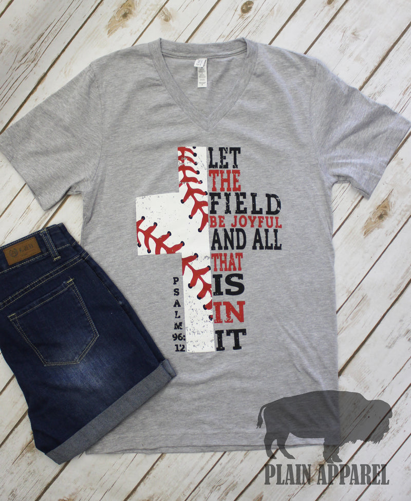 Baseball Cross V-Neck Psalm 96:12 - Bless UR Heart Boutique