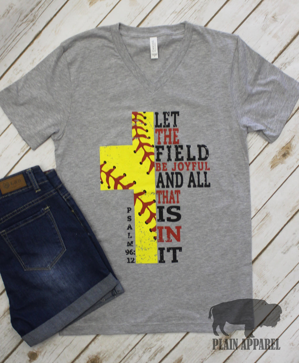 Softball Cross V-Neck Psalm 96:12 - Bless UR Heart Boutique