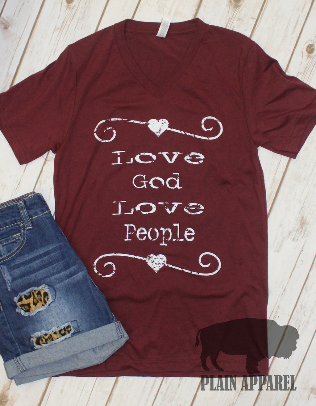 Love God Love People V-Neck Tee - Bless UR Heart Boutique