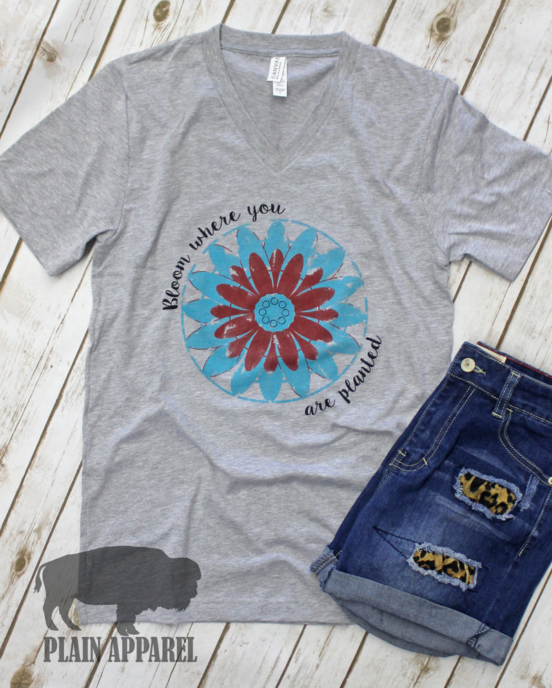 Bloom Where You Are Planted V-Neck Tee - Bless UR Heart Boutique