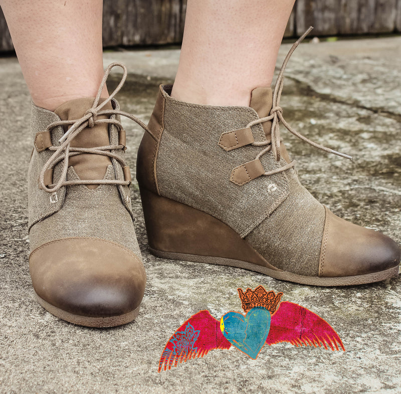 Taupe & Gray Material Wedge Bootie 146